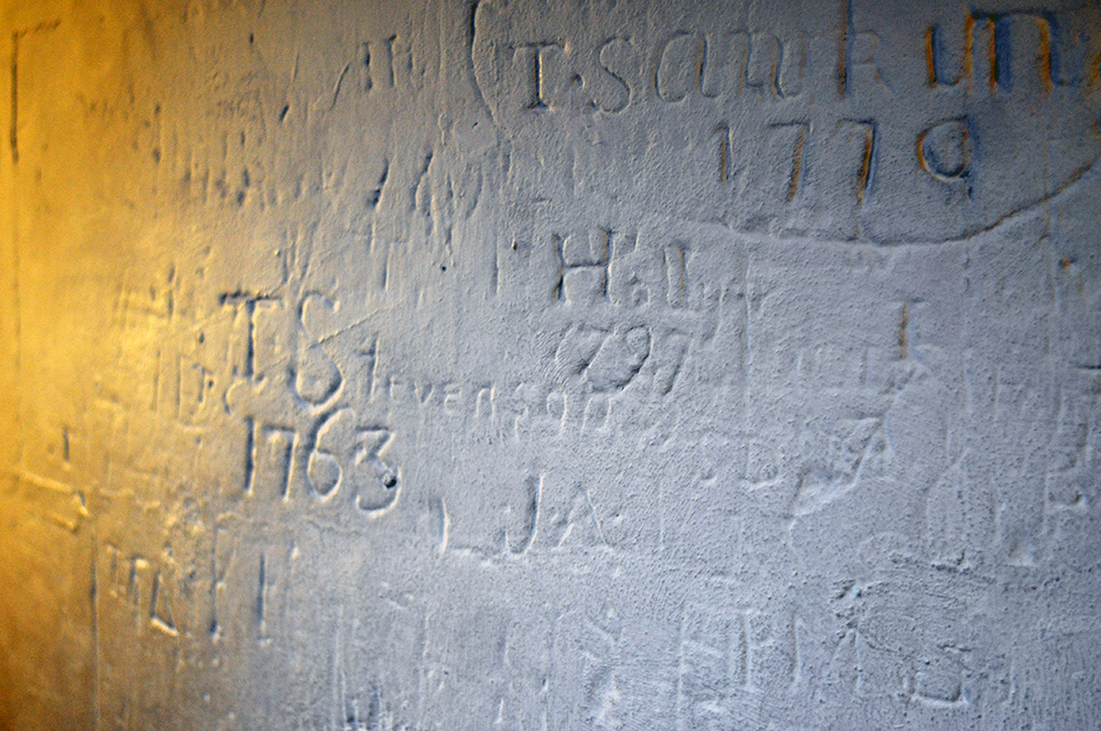 Graffiti in the dome. These folks from the 1700s want you to know they were here.