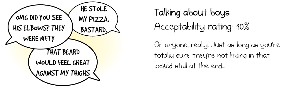 Talking about boys Acceptability rating: 90% Or anyone, really. Just as long as you're totally sure they're not hiding in that locked stall at the end...